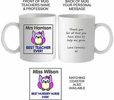 Personalised Best Pink Owl Teacher Mug/Coaster,Thankyou End Of Term Present/Gift