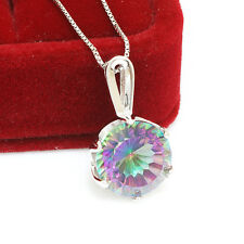 10ct New Genuine Fire Rainbow Topaz Pendant Necklace Chain 925 Sterling Silver