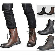 New Fashion Men's Genuine Leather cowboy Boots Lace Up Army Combat Ankle Boots