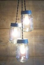 3 Mason Jar Light Fixture Chandelier Ceiling Fixture-Rustic Country Farmhouse