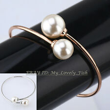 A1-A027 Fashion Pearl Bracelet Bangle Cuff 18KGP