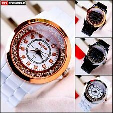 Bangle Stainless Steel Elegant Round Crystal Dial Quartz Bracelet Wrist Watch