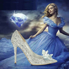 Cinderella Princess Crystal Shoes Girls Womens High Heels wedding shoes diamond