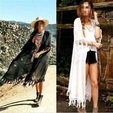 Fashion Women's Bohemian Tassel Hem Chiffon Kimono Top Blouse Cardigan Coat