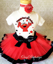 Elmo Red Black Stars 2nd Second Birthday Shirt Tutu Outfit Set Party girl