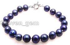 "SALE Big 8-9mm High luste natural Black freshwater Pearl 7.5"" bracelet -bra274"