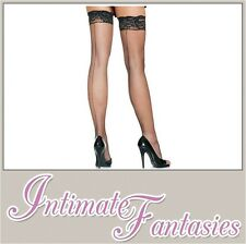 Sexy Black Seamed Stockings Fishnet Lace Tops Valentine Fancy Dress Size 8 10 12