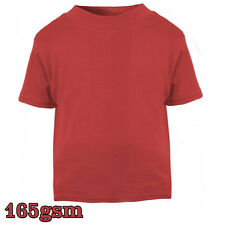 New T-Shirt T Shirt Age Size Top Kids Baby and Toddler Plain in Red Boys Girls