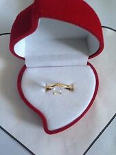 18KT Real Gold Plated Heart Engagement Anniversary Ring with Fashion Velour Box