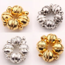 5/10 Sets Silver/Golden Plated Metal Floral Pattern Round Magnetic Clasps