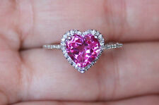 Brand New Sz5/6/7/8 Pink Sapphire Diamond Heart Engagement Promise Halo Ring