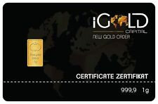 1 Gram fine Gold Bullion 999.9 Gold Bar certificate with 5 € COUPON!