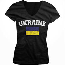 Ukraine Country Flag Ukranian Pride Football Soccer Juniors V-neck T-shirt