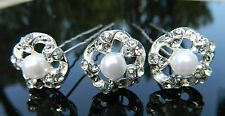 Bridal Wedding Jewelry White Faux Pearl Crystal Rhinestone Hairpins Fashion