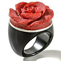 Red Sponge Coral Carved Rose, Sterling Silver, and Black Onyx Band Ring