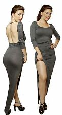 GRAY Wrap Front Minimalist Backless Open Back Slip Jersey Party Long Maxi Dress