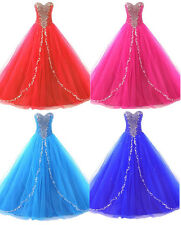 New Stock Beaded Ball Wedding Bridal Gown Quinceanera dress Prom Evening Dresses