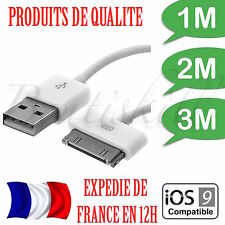 CABLE RENFORCE 1M-2M-3METRES USB CHARGEUR SYNC iPhone 3,3GS,4,4S,Ipod...