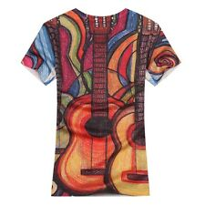 Bad Boy Style Men's TEE【The Guitar】Casual Cotton V-Neck Short sleeve T-Shirt 4Sz