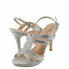 Women's Shoes Blossom Krest 1 Sparkly Strappy Open Toe Dress Sandal Silver *New*