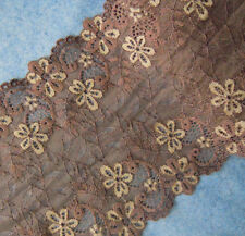 """3 - 4.8 Yards 6.5"""" Wide Stretch Cocoa Lace with Beige Flower d0927"""