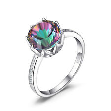Unique 4ct Genuine  Fire Rainbow Topaz Ring Solid 925 Sterling Silver