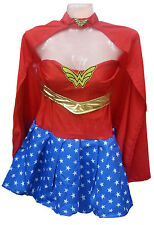 LADIES WONDER WOMAN SUPER HERO FANCY DRESS COSTUME/RED STOCKINGS 6 8 10 12 14 16