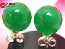 SALE Big 10mm Green Perfect Round high quality natural Jade stud earring-ear129
