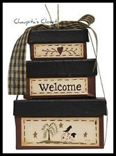 WELCOME Sheep Crow Hatbox-Nesting Box Ornament Primitive Rustic Country Home