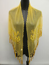 Cruise/Belly Dancing Handmade Embroidery Beaded Lace Shawl Hip Scarf/Wrap Tassel