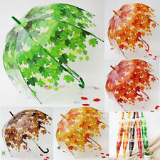 NEW Maple Leaf Clear Dome/Birdcage Umbrella Long Handle Creative Umbrella