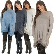 Ladies Italian Lagenlook Quirky Cocoon Jersey Tunic Dress Top Size 12 14 16 18 L
