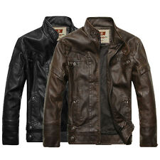 New High Quality Thick Men's Leather Motorcycle Standing Collar Jackets Coat