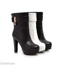 Women's High Heel Platform Shoes Synthetic Leather Mid Calf Boots AU All Sz O155