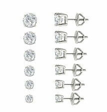 Mens Ladies White Gold Plated Round Lab Diamond Studs Screw Back Earrings 3-8mm