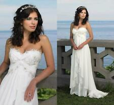 Sweetheart Chiffon Beach Wedding Dress Bridal Gown Customize 2 4 6 8 10 12 14 16