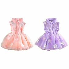 Kids Girls Sweet Floral Party Dress Lace Mesh Tutu Dress Princess Size 3-6Y
