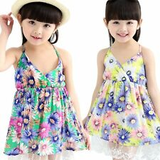 Kids Girls Lace Flower Backless Sundress V Neck Beach Dresses Size 2-7Y