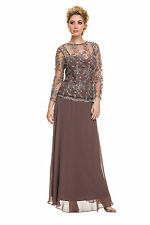 Elegant Modest Mother of the Bride Dress Long Sleeve Plus Sizes Lace Overlay