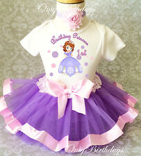 Sofia Sophia the Princess Baby Girl 1st First Birthday Tutu Outfit Shirt Set