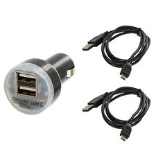 2 Port Dual Black USB Car Charger 2.1+1 Amp + 2X Cable Cord For Phones