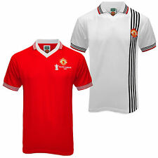 Manchester United FC Official Football Gift Mens 1977 Retro Home Away Kit Shirt