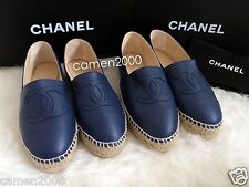 NIB CHANEL 15S Cap Toe Dark Navy Leather Espadrilles Flats Shoes Size 35/5