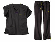 Iguana Med 5600/5500 Carbon Black Quattro Medical Scrub Set NWT Size Choice