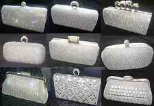 Blingy Silver Diamond Crystal Stone Evening bag Clutch Purse Wedding Party Prom
