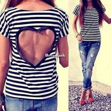 Le donne Backless Lace casual Striscia Camicie camicette in chiffon T Shirt Top