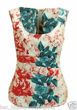 EX ALEXON Luxury Designer Ladies Roses Ruched Front Sleeveless Smart Casual Top
