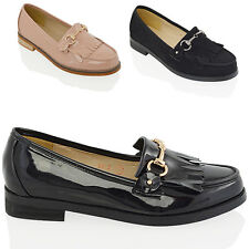 NEW WOMENS LOAFERS PUMPS LADIES SCHOOL WORK CASUAL FRINGE BUCKLE SHOES SIZE