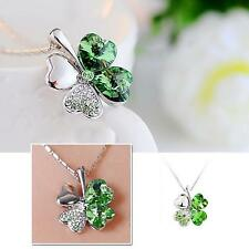 Lucky Four Leaf Clover Design Crystal Pendant Chain Women Dress Party Necklace
