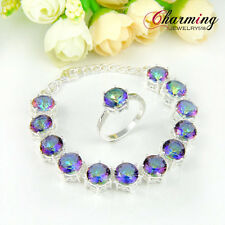 Jewelry Set Amazing Rainbow Mystical Topaz Gemstone Silver Bracelet Ring New